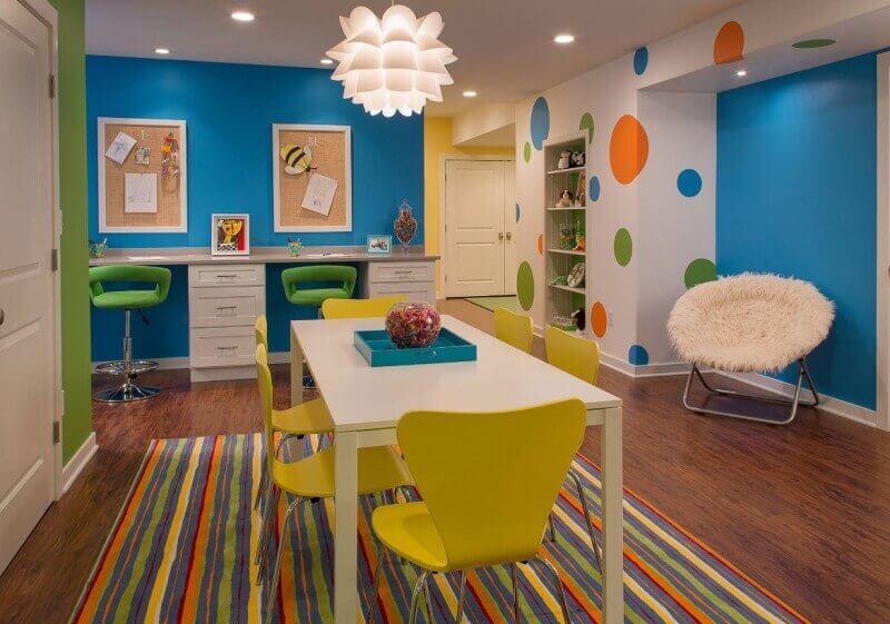 Colorful Basement Room Finishing Ideas