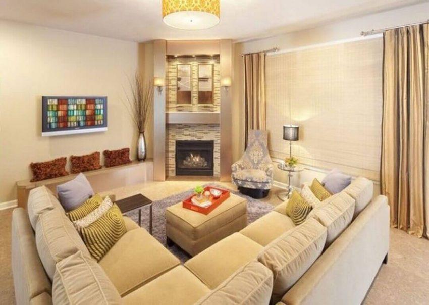 Modern Corner Fireplace Ideas Sectional Seating