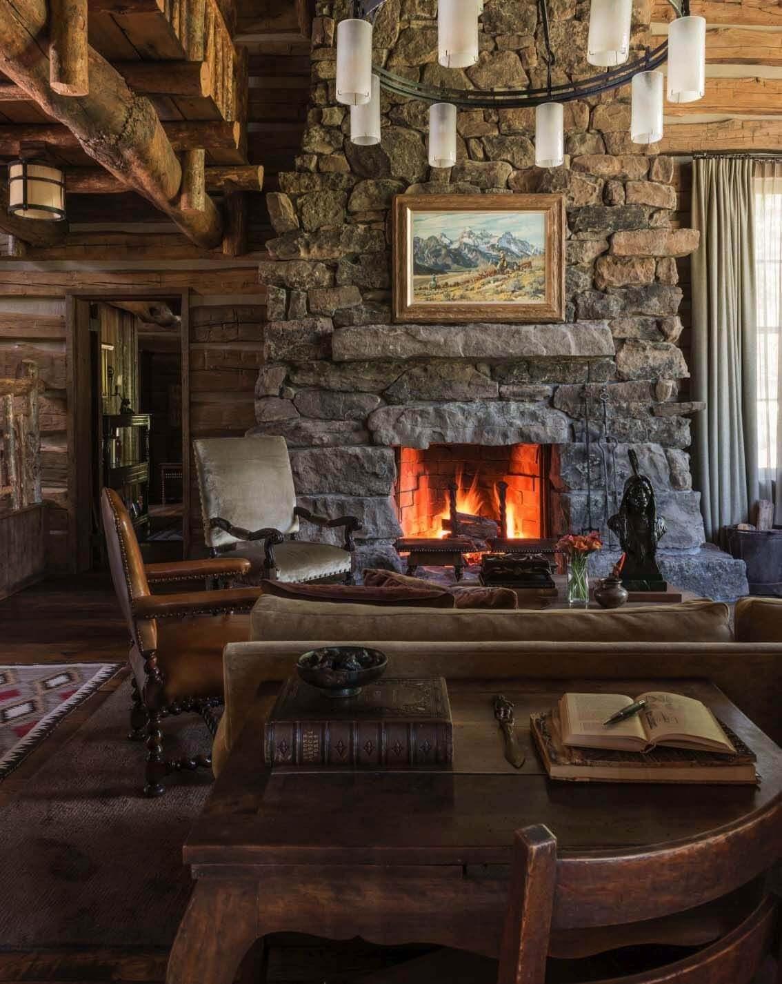 Mountain Style Stone Corner Fireplace Ideas