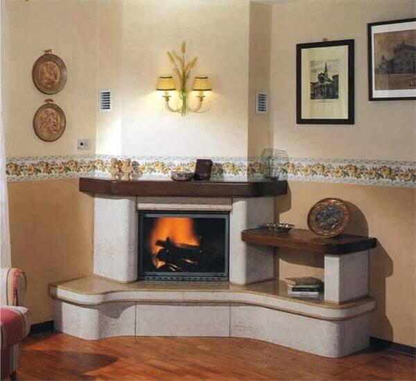 Spanish-Style Corner Gas Fireplace Ideas