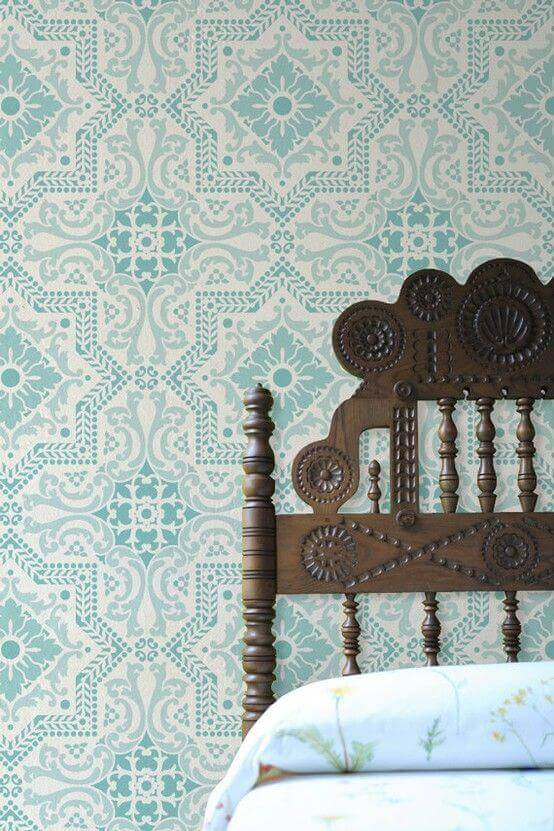 Bedroom Paint Colors Classic Turquoise Patterned Wall - Harptimes.com