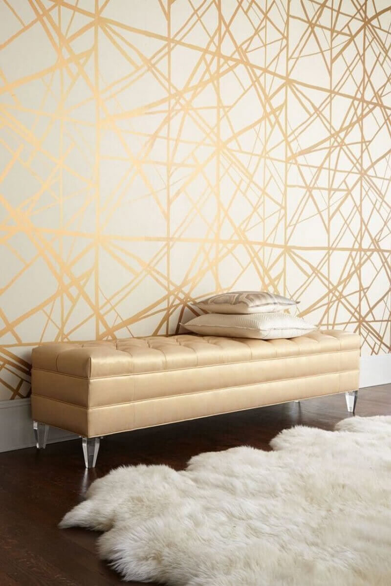 Bedroom Paint Colors Glittering Golden Web on The Wall - Harptimes.com
