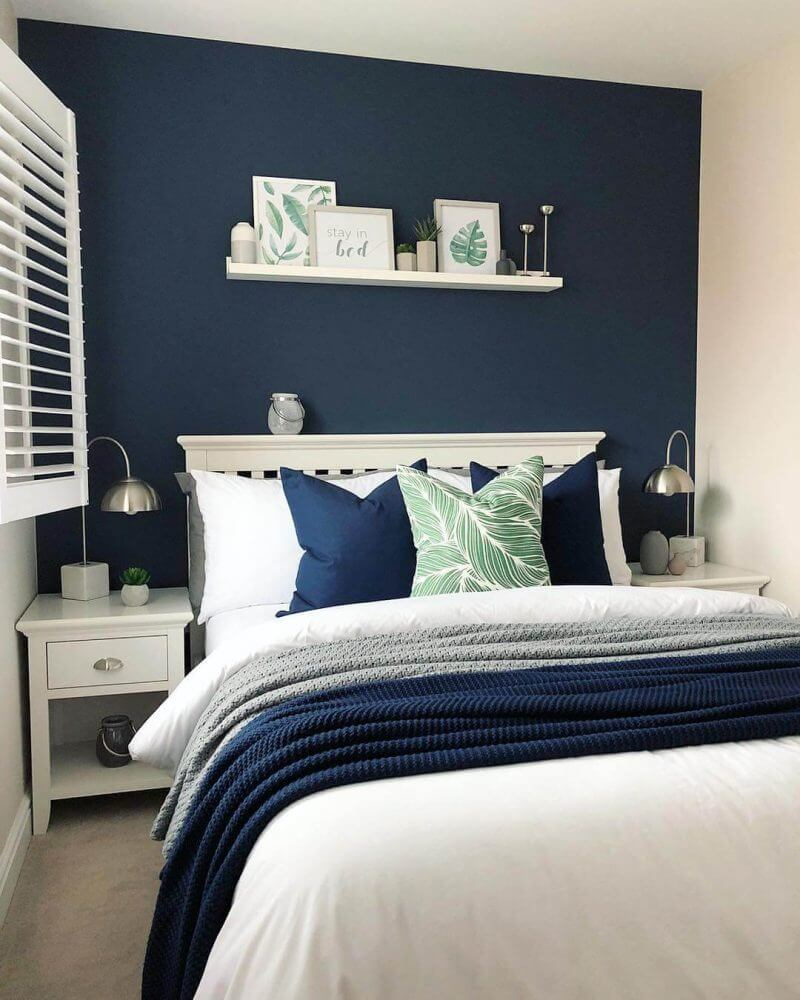 Bedroom Paint Colors The Bold of Navy Blue with The Touch of Nature - Harptimes.com
