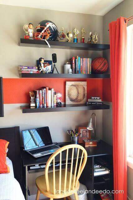 Boys Bedroom Ideas Trophies and The Orange Accents - Harptimes.com