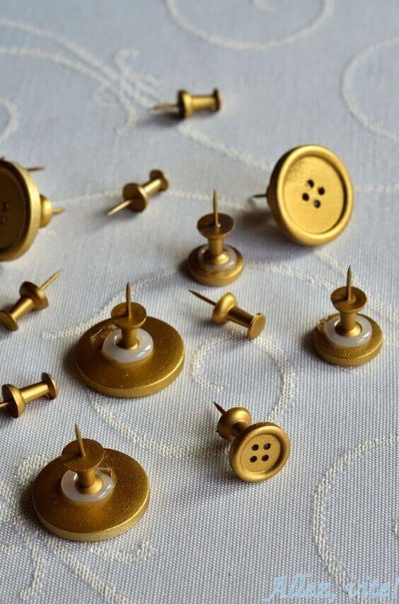 Cork Board Ideas DIY Golden Pins for Your Cork Boards - Harptimes.com