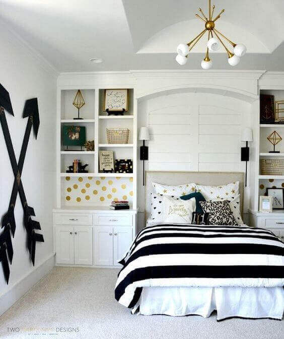Boy and Girl Bedroom Ideas Teenage with Built-In Cabinets - Harptimes.com