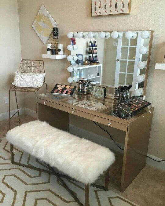 Makeup Room Ideas Dressing Table with Glass Tabletop - Harptimes.com
