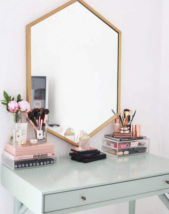 Makeup Room Ideas Hexagonal Vanity Mirror with Wooden Accent - Harptimes.com