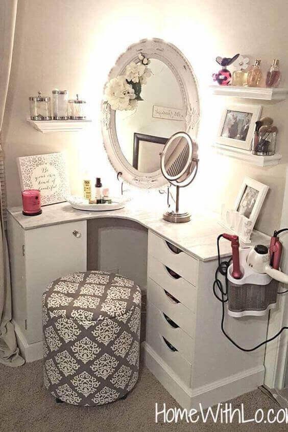 Makeup Room Ideas Vanity Mirror with Hidden LED Light - Harptimes.com