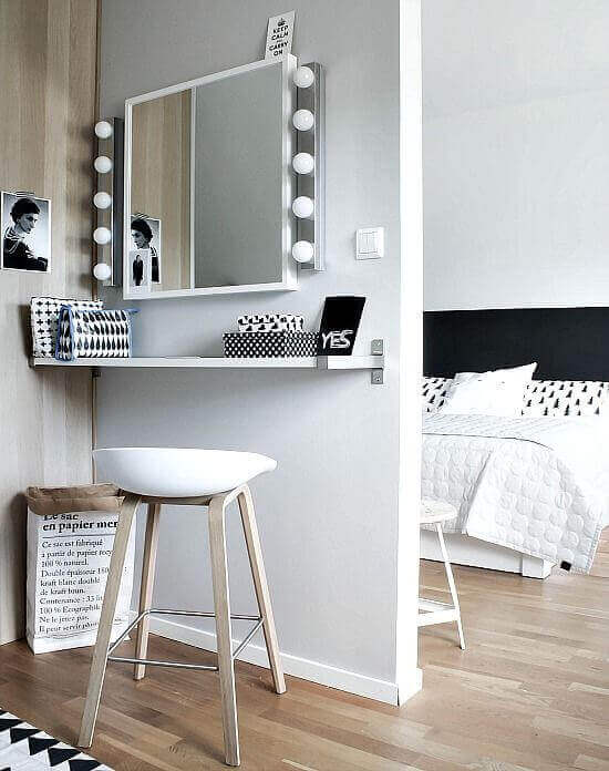 Simple Black and White Makeup Room Ideas - Harptimes.com