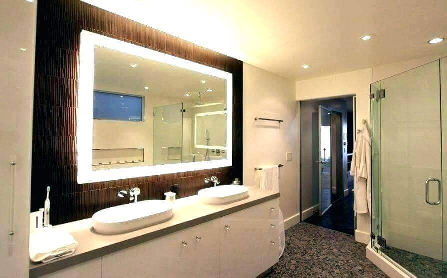Square Vanity Mirror with Lights on Brown Accent Wall - Harptimes.com