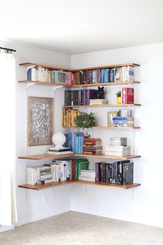 Corner Full Wall Shelving Ideas for Small Spaces