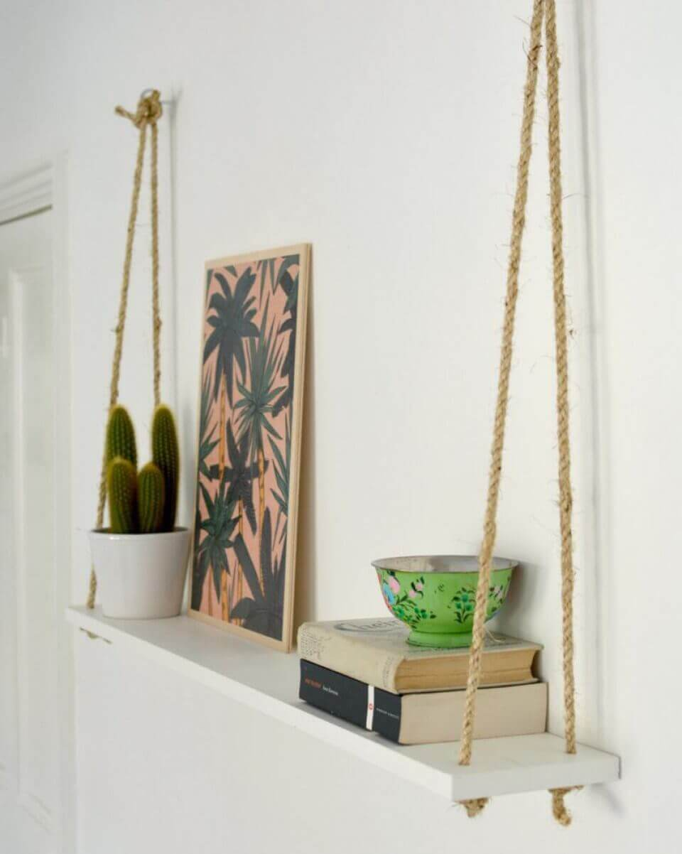 Hanging Wall Shelving Ideas with Ropes Ideas