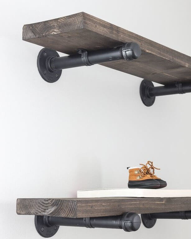Industrial Pipe Wall Shelving Ideas