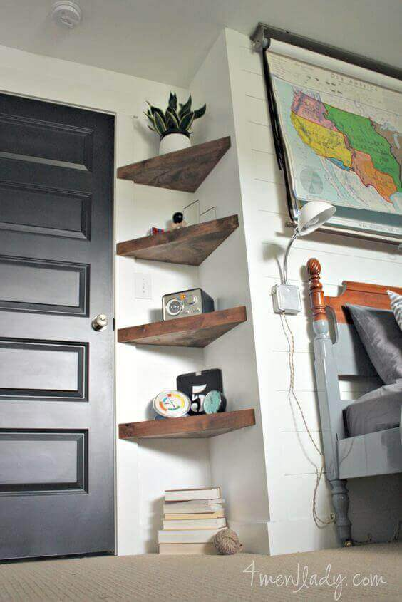 Small Bedroom Ideas with Shelves in Nooks - Harptimes.com