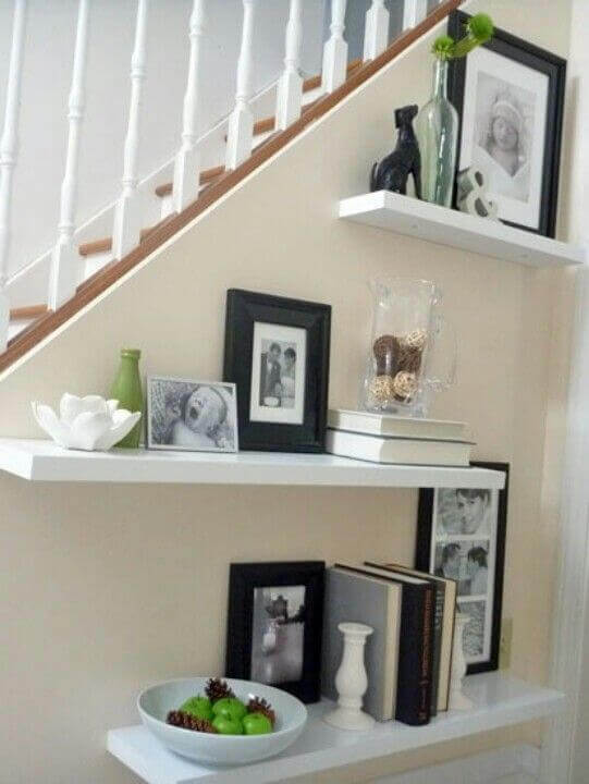 Modern Wall Shelving Ideas Below Stairway