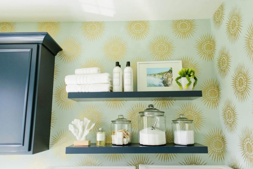 Feature Wall Shelving Ideas in Laundry Room