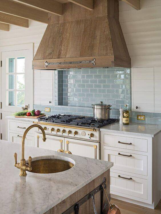 French Country Decor Calming Blue Subway Tiles - Harptimes.com