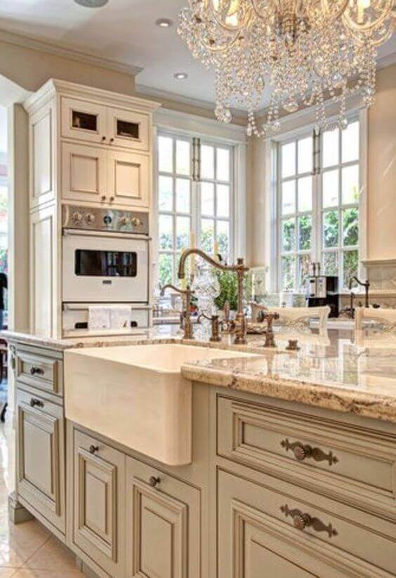 French Country Decor Luxurious White Kitchen - Harptimes.com