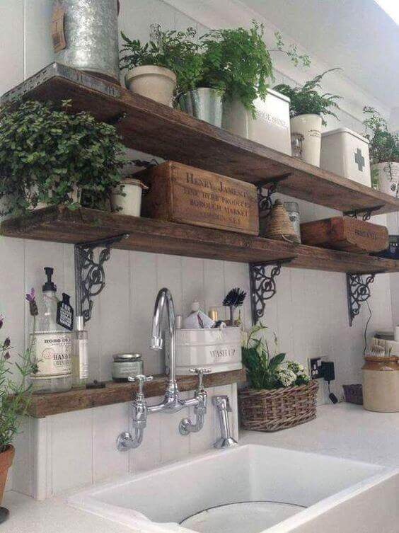 French Country Decor Rustic Open Shelves - Harptimes.com