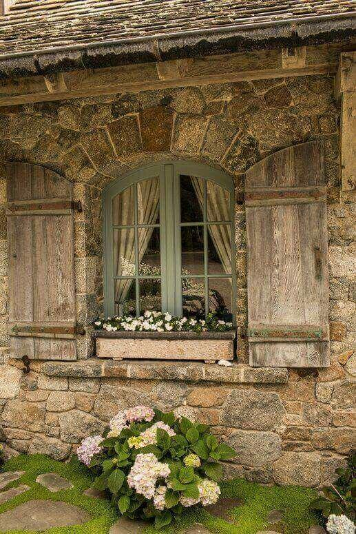 French Country Decor Rustic Window with Flower Bed - Harptimes.com