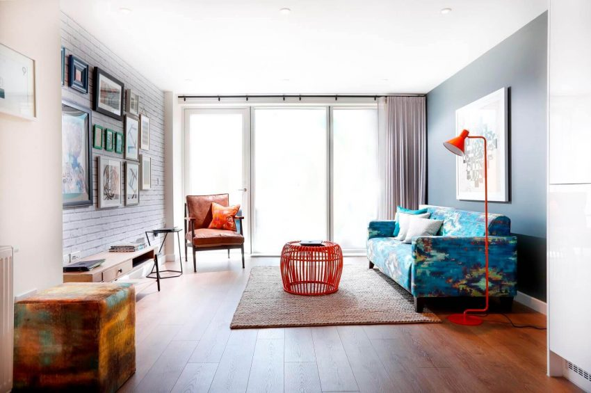 Grey Living Room Ideas with Orange Accent